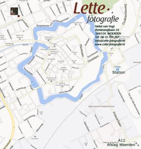 Woerdense plattegrond met locatie Lette fotografie